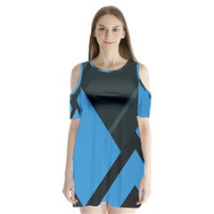 Lines Textur  Stripes Blue Shoulder Cutout Velvet  One Piece by Jojostore