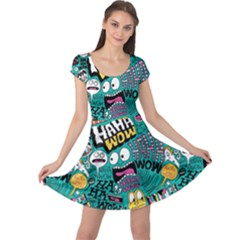Haha Wow Pattern Cap Sleeve Dresses by Jojostore
