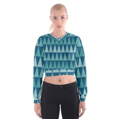 Blues Long Triangle Geometric Tribal Background Women s Cropped Sweatshirt by Jojostore