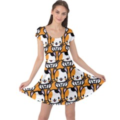Face Cat Yellow Cute Cap Sleeve Dresses