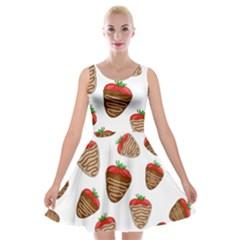Chocolate Strawberries  Velvet Skater Dress by Valentinaart