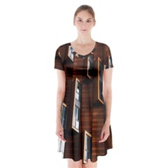 Abstract Architecture Building Business Short Sleeve V-neck Flare Dress by Amaryn4rt