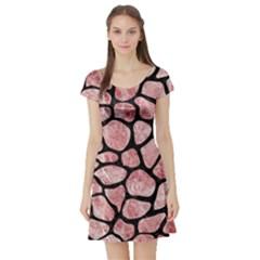 Skin1 Black Marble & Red & White Marble Short Sleeve Skater Dress by trendistuff