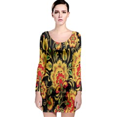 Flower Yellow Green Red Long Sleeve Bodycon Dress