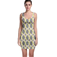 Hearts And Yellow Washi Zigzags Tileable Sleeveless Bodycon Dress by AnjaniArt