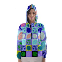 Sports Ball Hooded Wind Breaker (women) by AnjaniArt