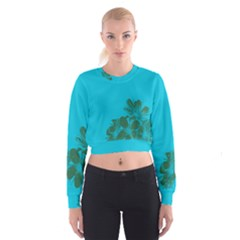 Blue Flower Women s Cropped Sweatshirt by Jojostore