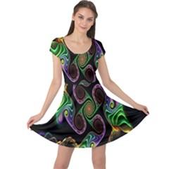 Bright Colorful Action Figures Cap Sleeve Dresses