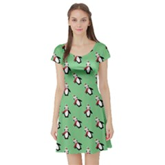 Christmas Penguin Green Short Sleeve Skater Dress