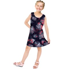 Black And Gray Texture With Bright Red Beads Kids  Tunic Dress by Jojostore