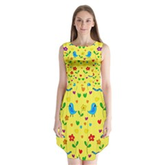 Yellow Cute Birds And Flowers Pattern Sleeveless Chiffon Dress   by Valentinaart