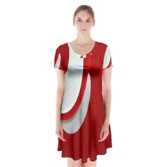 Red White Short Sleeve V Neck Flare Dress by Jojostore