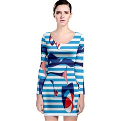 Sunbathing On The Beach Long Sleeve Bodycon Dress by Jojostore