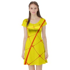 Yellow Redmesh Short Sleeve Skater Dress