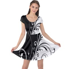 Flower Black White Cap Sleeve Dresses