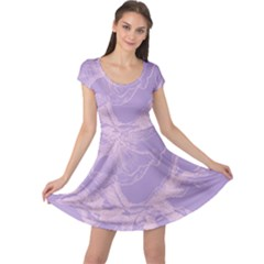 Flower Purple Gray Cap Sleeve Dresses by Jojostore