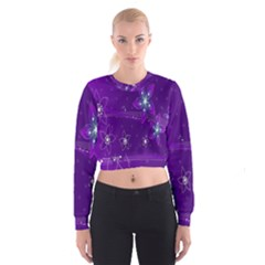 Flowers Purple Women s Cropped Sweatshirt by Jojostore