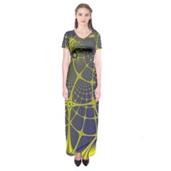 Futuristic Looking Fractal Graphic A Mesh Of Yellow And Blue Rounded Bars Short Sleeve Maxi Dress by Jojostore