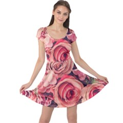 Beautiful Pink Roses  Cap Sleeve Dresses by Brittlevirginclothing