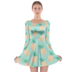 Cute Pineapple Long Sleeve Skater Dress by Brittlevirginclothing