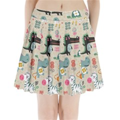 Cute Cartoon Animals Pleated Mini Skirt by Brittlevirginclothing