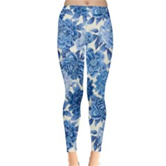 Blue Flowers Classic Winter Leggings by Brittlevirginclothing