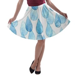 Rain Drops A Line Skater Skirt by Brittlevirginclothing