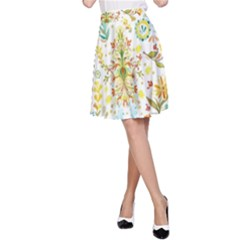 Pastel Flowers A Line Skirt by Brittlevirginclothing