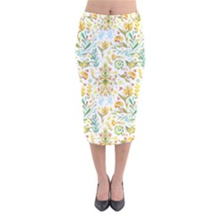 Pastel Flowers Velvet Midi Pencil Skirt by Brittlevirginclothing