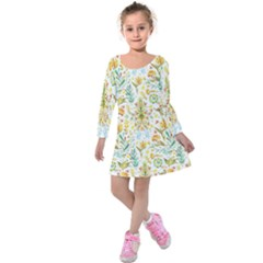 Pastel Flowers Kids  Long Sleeve Velvet Dress by Brittlevirginclothing