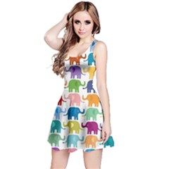 Colorful Small Elephants Reversible Sleeveless Dress