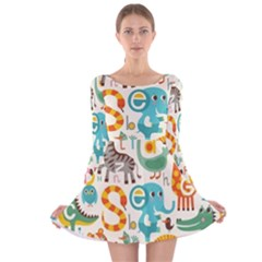 Cute Cartoon Animals Long Sleeve Velvet Skater Dress by Brittlevirginclothing