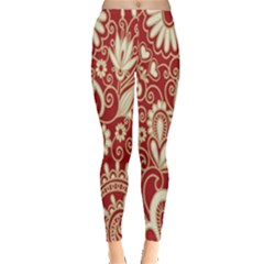 Red Flower White Wallpaper Organic Leggings
