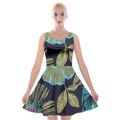 Dark Colored Lila Flowers Velvet Skater Dress by Brittlevirginclothing