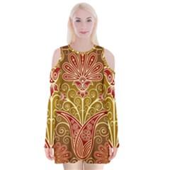 European Fine Batik Flower Brown Velvet Long Sleeve Shoulder Cutout Dress by Jojostore