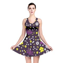 Floral Purple Flower Yellow Reversible Skater Dress