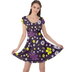 Floral Purple Flower Yellow Cap Sleeve Dresses by Jojostore