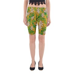 Flower Yellow Yoga Cropped Leggings by Jojostore
