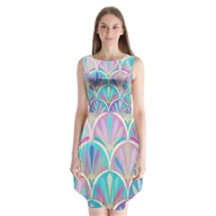 Colorful Lila Toned Mosaic Sleeveless Chiffon Dress   by Brittlevirginclothing