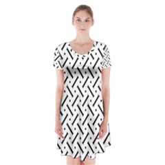 Geometric Pattern Short Sleeve V Neck Flare Dress by Amaryn4rt