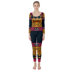 Pattern Ornaments Africa Safari Summer Graphic Long Sleeve Catsuit by Amaryn4rt