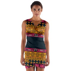 Pattern Ornaments Africa Safari Summer Graphic Wrap Front Bodycon Dress by Amaryn4rt