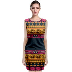 Pattern Ornaments Africa Safari Summer Graphic Sleeveless Velvet Midi Dress by Amaryn4rt