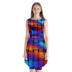 Rainbow Weaving Pattern Sleeveless Chiffon Dress   by Amaryn4rt