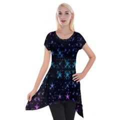 Stars Pattern Seamless Design Short Sleeve Side Drop Tunic by Amaryn4rt