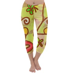 Abstract Faces Abstract Spiral Capri Winter Leggings  by Amaryn4rt