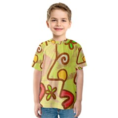 Abstract Faces Abstract Spiral Kids  Sport Mesh Tee by Amaryn4rt
