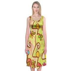 Abstract Faces Abstract Spiral Midi Sleeveless Dress by Amaryn4rt