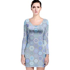 Bee Hive Background Long Sleeve Velvet Bodycon Dress by Amaryn4rt