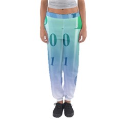 Blue Binary Background Binary World Binary Flow Hand Women s Jogger Sweatpants by Amaryn4rt